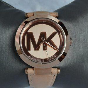 Michael Kors Logo Runway Ladies Watch w/cream band